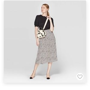 NWT Who What Wear Leopard Midi Skirt